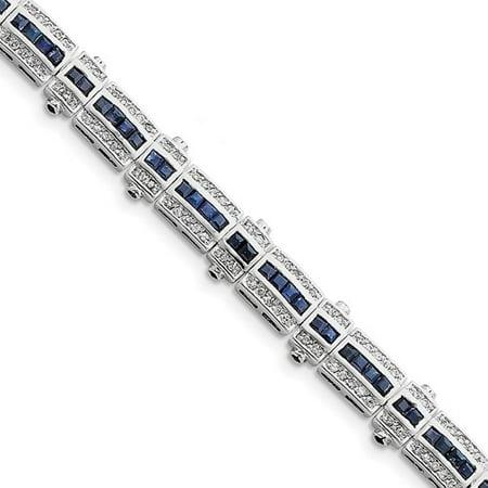Silver Multi Color Stone Bracelet (Sterling Silver Sapphire & CZ Bracelet. Gem Wt- 5.88ct )