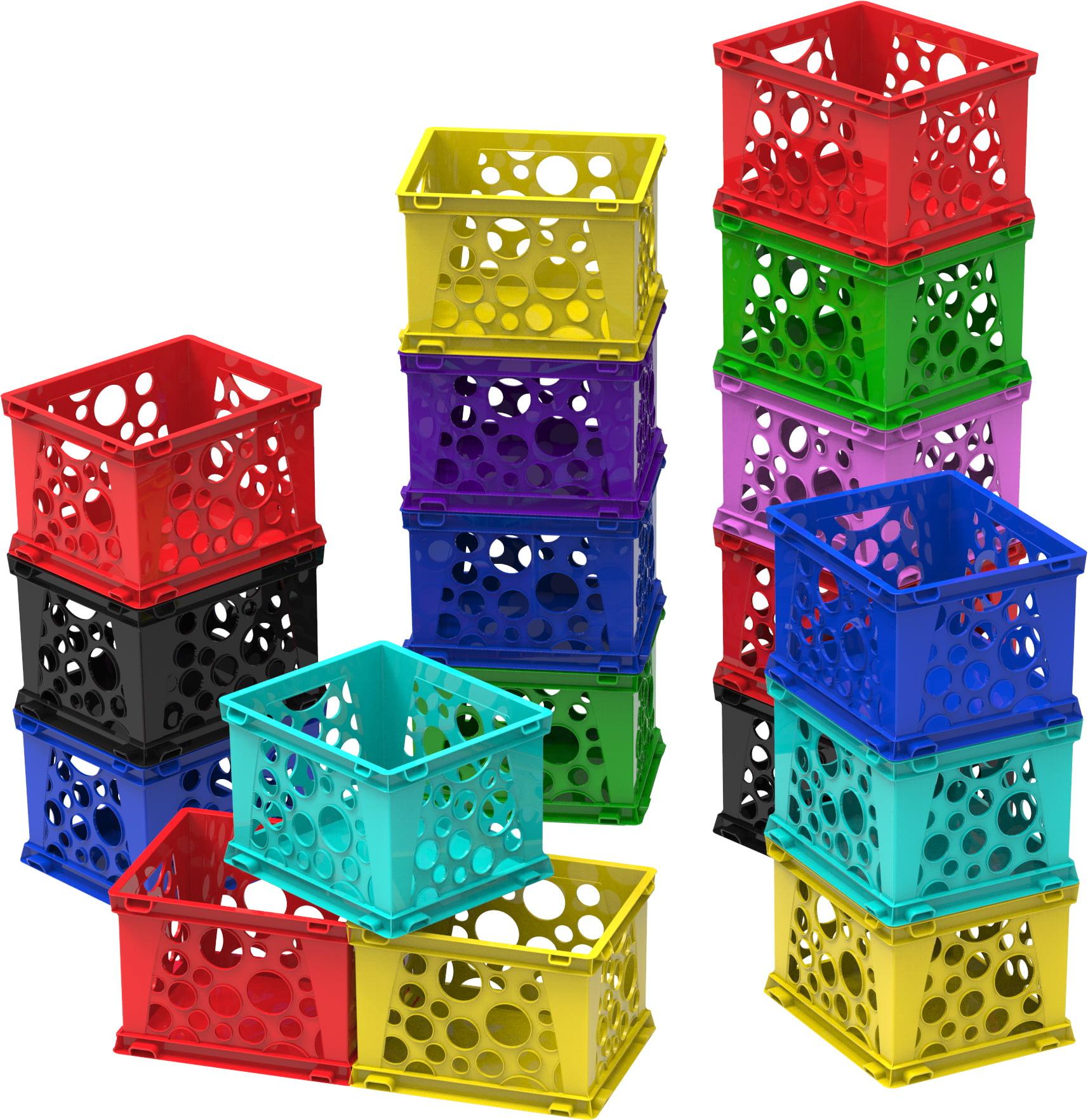 Storex Micro Crate,Multi Colors (Lot of 18 units/ bulk pack)