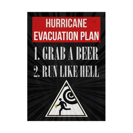 Hurricane Evacuation Plan 1. Grab A Beer 2. Run Like Hell Print Running Man Picture Fun Drinking Humor Bar Wall