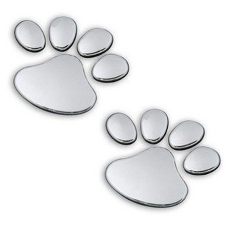 One Set of Two 3D Silver Dog Footprint Car Stickers Auto Car Emblem Decal Decoration