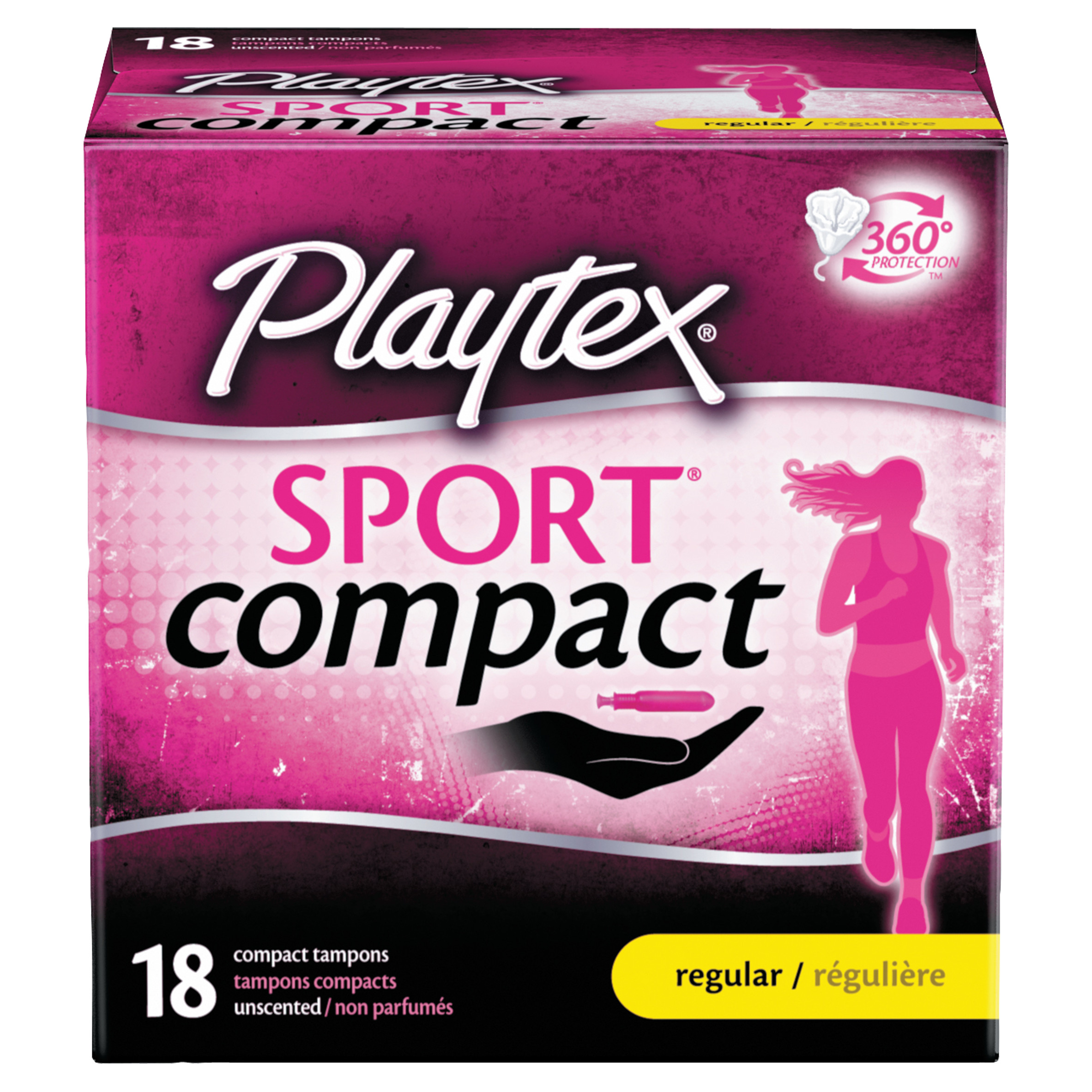 Playtex Sport Compact Unscented Tampons, Regular Absorbency, 18 Ct