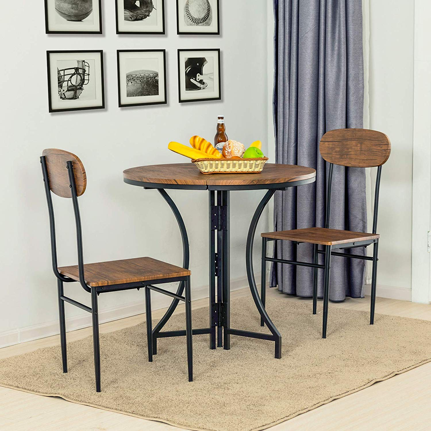Mecor 3 Pcs Foldable Dining Table And Chairs Set Mid Century Vintage Round Foldable Coffee Table And Chairs With Metal Frame For Kitchen Patio Dining Room Walmart Com Walmart Com