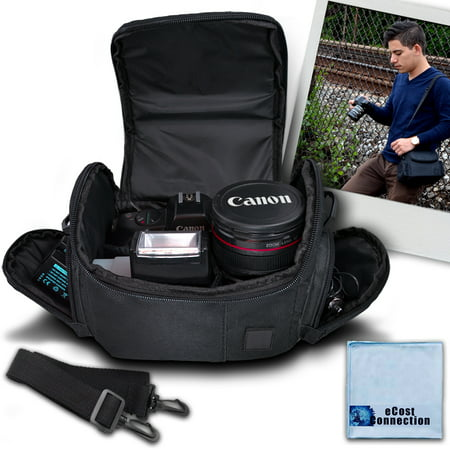 Medium Soft Padded Camera Equipment Bag / Case for Nikon, Canon, Sony, Pentax, Olympus Panasonic, Samsung & Many More + eCostConnection Microfiber Cloth - Olympus E-system Travel Bag