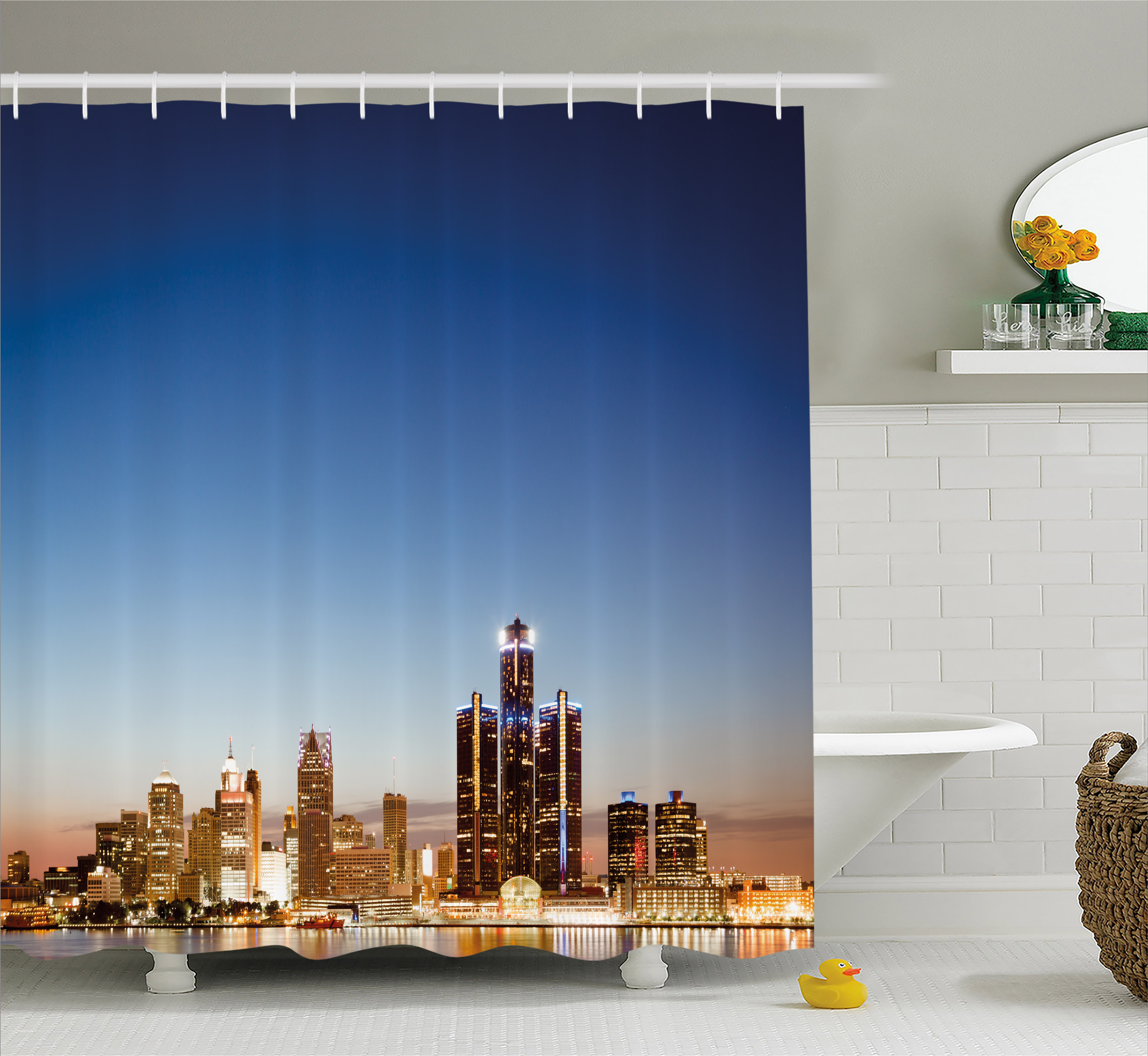 Detroit Shower Curtain, Michigan Skyline at Twilight Waterfront Lively City Serene Calm Travel Destination, Fabric Bathroom Set with Hooks, Multicolor, by Ambesonne