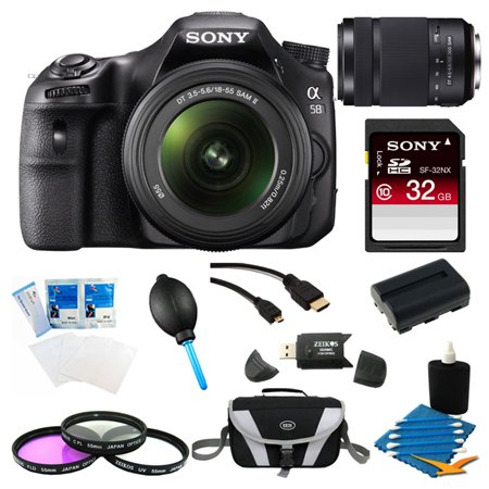 Sony Alpha SLT-A58K Digital SLR Camera w/ 32GB 55-300mm Zoom Lens Deluxe Bundle