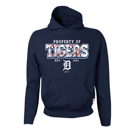 Detroit Tigers Stitches Youth Property Of Team Hoodie - Navy Detroit Tigers Youth Fleece Pullover