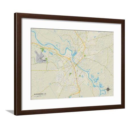 Political Map of Alexandria, LA Framed Print Wall Art ()