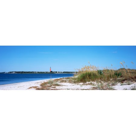 Sea oat grass on beach with Ponce de Leon Inlet Lighthouse in the background Smyrna Dunes Park Volusia County Florida USA Canvas Art - Panoramic Images (36 x 12)