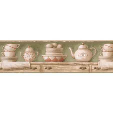 Beige Kitchen Chest Tea Cups Plates Kettle Olive Green Wallpaper Border Retro Design, Roll 15' x 7'' - image 2 of 3