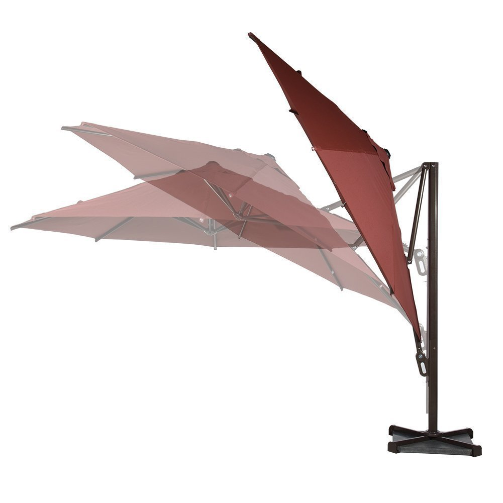 Image of Abba Patio 11-Ft Round Easy Open Offset Outdoor Umbrella with Square Parasol and Cross Base, Infinite Tilt, Dark Red