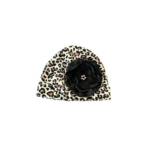 Lil Bowtique & Co Leopard Beanie Hat with Black Gracie Flower