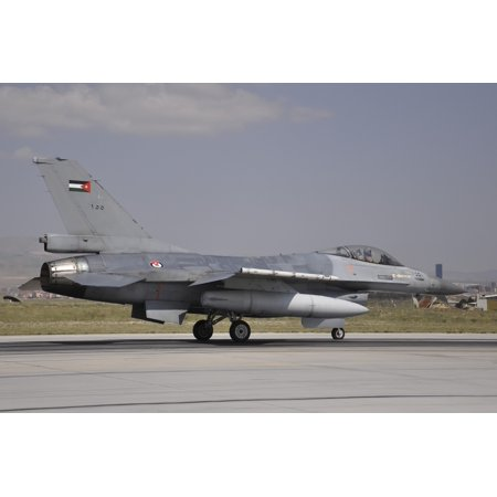 A Royal Jordanian Air Force F-16AM aircraft ready for take-off Stretched Canvas - Giorgio CiariniStocktrek Images (34 x 23)
