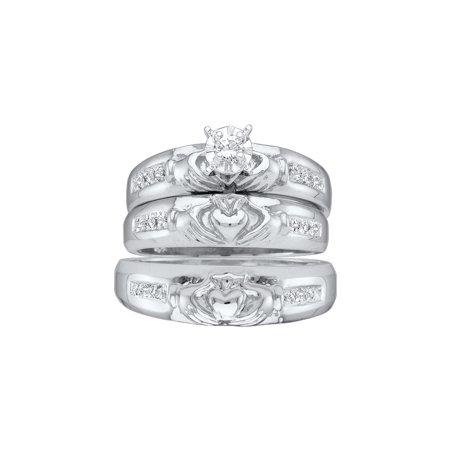 14k White Gold Round Diamond Mens Womens His Hers Claddagh Trio Matching Wedding Bridal Set (.14 cttw.) size- (Ladies Claddagh Diamond Set)