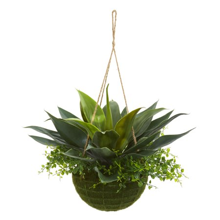 Nearly Natural Agave and Maiden Hair Artificial Plant in Hanging Basket (Indoor/Outdoor) ()