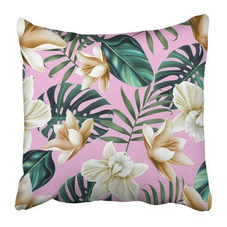 ARTJIA Green Leaves Tropical Flower Plant Pattern Hawaiian Californian Florida Summer Style Colorful Ditsy Pillowcase 20x20 inch