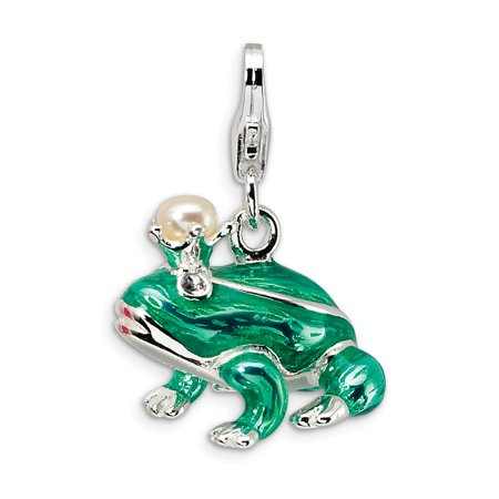 16mm Mabe Pearl (Solid 925 Sterling Silver FW Cultured Pearl Frog Prince with Lobster Pendant Charm (16mm x)