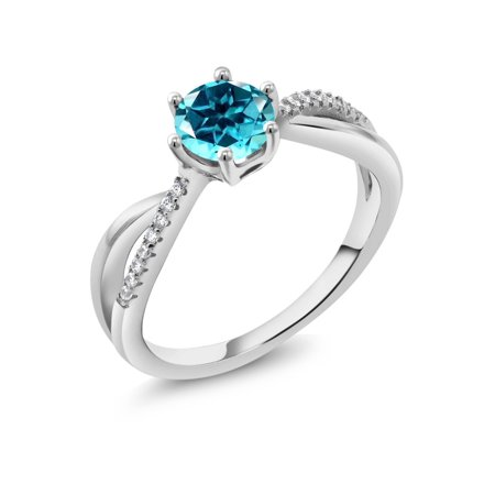 de6f41eb7 Gem Stone King - 925 Sterling Silver Ring Set with Round Paraiba ...