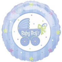 18 Inch Baby Boy Buggy Foil Balloon