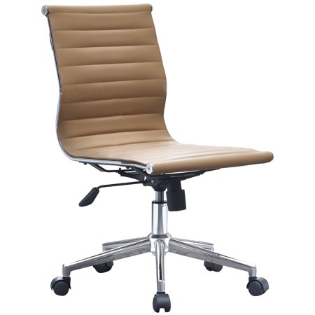 2xhome Tan Modern Mid Back Office Chair Armless Ribbed PU Leather Swivel Tilt Adjustable Chair Designer Boss Executive Manager Office Conference Room Work Task Ergonomic No Arms Without Arm Rests ()