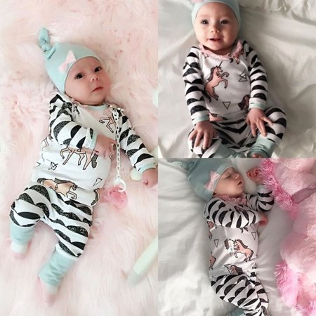 Newborn Baby Boy Girl Horse Tops +Long Pants Hat Outfits 3PCS Set Clothes 0-24M