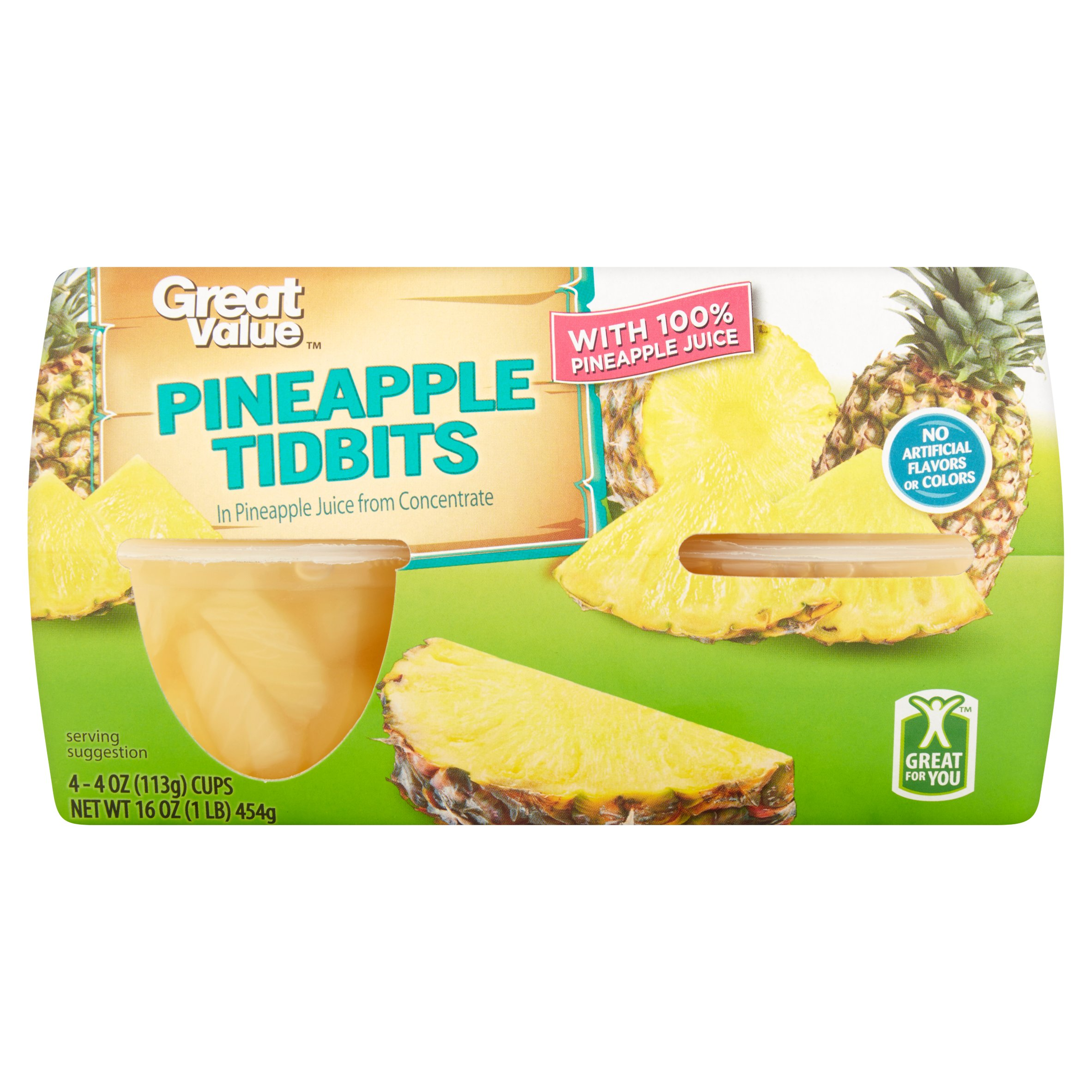 (3 Pack) Great Value Pineapple Tidbits in 100% Pineapple Juice, 4 oz, 4 Count