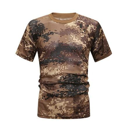 Women Men Casual Camo Round Neck Breathable Quick Drying Short Sleeve T-Shirt (Camo Short Sleeve Shirt)