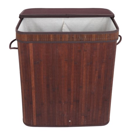 Zeny Home Divided Bamboo Laundry Basket Double Hamper With Lid Handles And Removable Liner Two Section Dirty Clothes Storage Sorter Rectangular W String