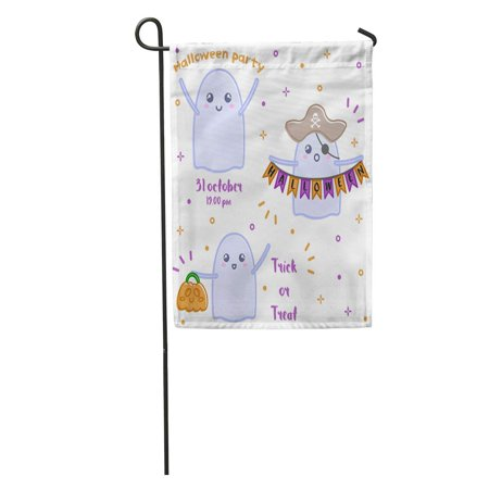 Halloween Cartoon Characters (LADDKE Apparition Cute Ghost to Halloween Autumn Boo Cartoon Celebration Character Garden Flag Decorative Flag House Banner 12x18)