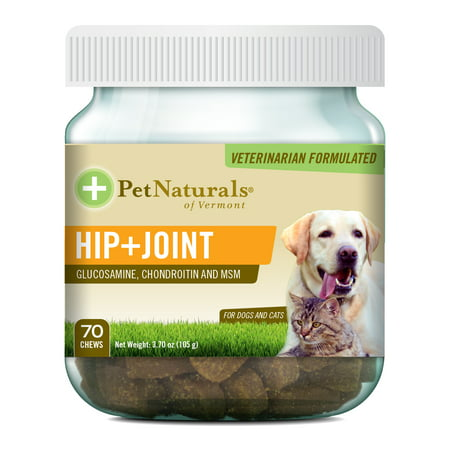 - Pet Naturals of Vermont Hip + Joint, Daily Joint Supplement for Cats and Dogs, 70 Bite Sized Chews