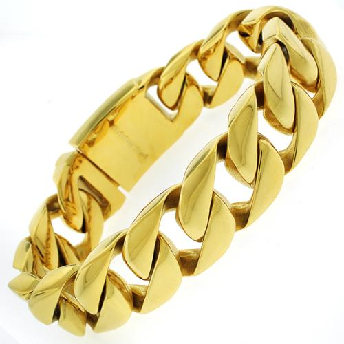 REL International Yellow Goldplated Stainless Steel Men's Thick 8.5-inch Cuban Bracelet