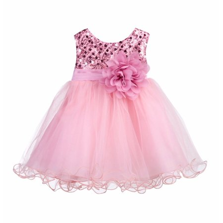 Ekidsbridal Baby Elegant Stylish Glitter Sequin Tulle Flower Girl Dresses Formal Special Occasions Dress Wedding Pageant Recital Reception Princess Birthday Party Ball Gown B-011NF - Gold Childrens Dress