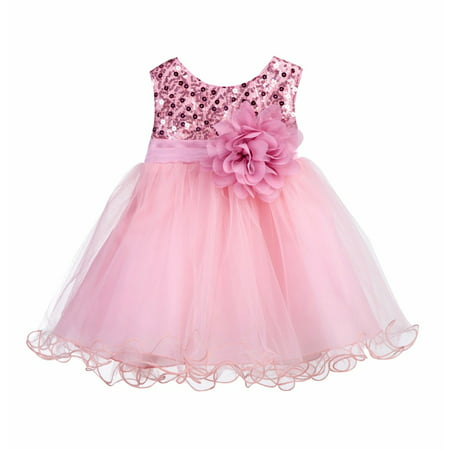Ekidsbridal Baby Elegant Stylish Glitter Sequin Tulle Flower Girl Dresses Formal Special Occasions Dress Wedding Pageant Recital Reception Princess Birthday Party Ball Gown B-011NF (Little Black Sequin Dress)