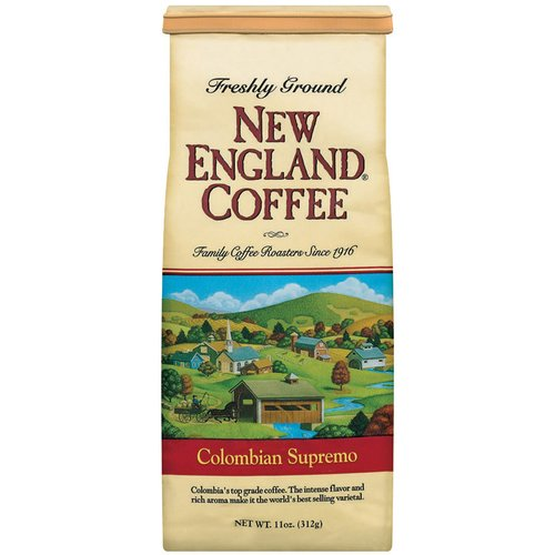 New England Coffee Freshly Ground 100% Arabica Coffee 100% Colombian Supremo, 11 oz