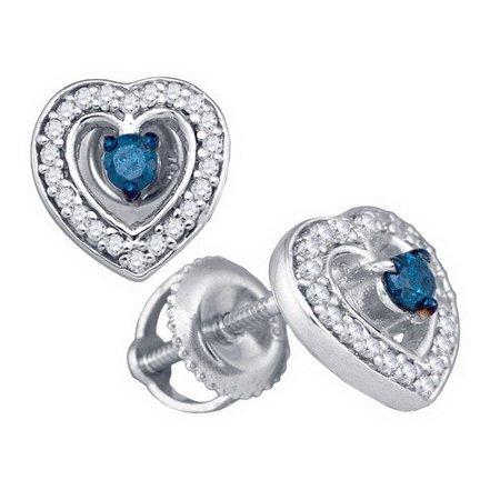 10k White Gold Round Brilliant Cut Blue Diamond Heart Earrings 0 33ct