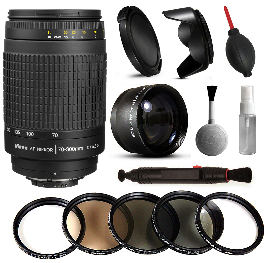 Nikon AF 70-300mm Manual Lens + Beginner Accessories Bundle includes 5 Piece Filter Set + 2.2x Adapter for Nikon DF D7200 D7100 D7000 D5500 D5300 D5200 D5100 D5000 D3300 D3200 D3100 D3000 D300S D90