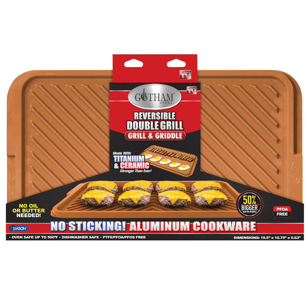 Gotham Steel Ceramic and Titanium Nonstick XL Double Grill - As Seen On TV