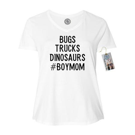 Bugs Trucks Dinosaurs #BoyMom Plus Size Womens V Neck T-Shirt Top (Dinosaur Suit For Sale)