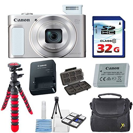 Canon PowerShot SX620 HS Digital Camera (Silver) with 32GB High Speed Memory Card + Deluxe Camera Case + Flexible Spider Tripod + Starter Kit & Deluxe Accessory Bundle