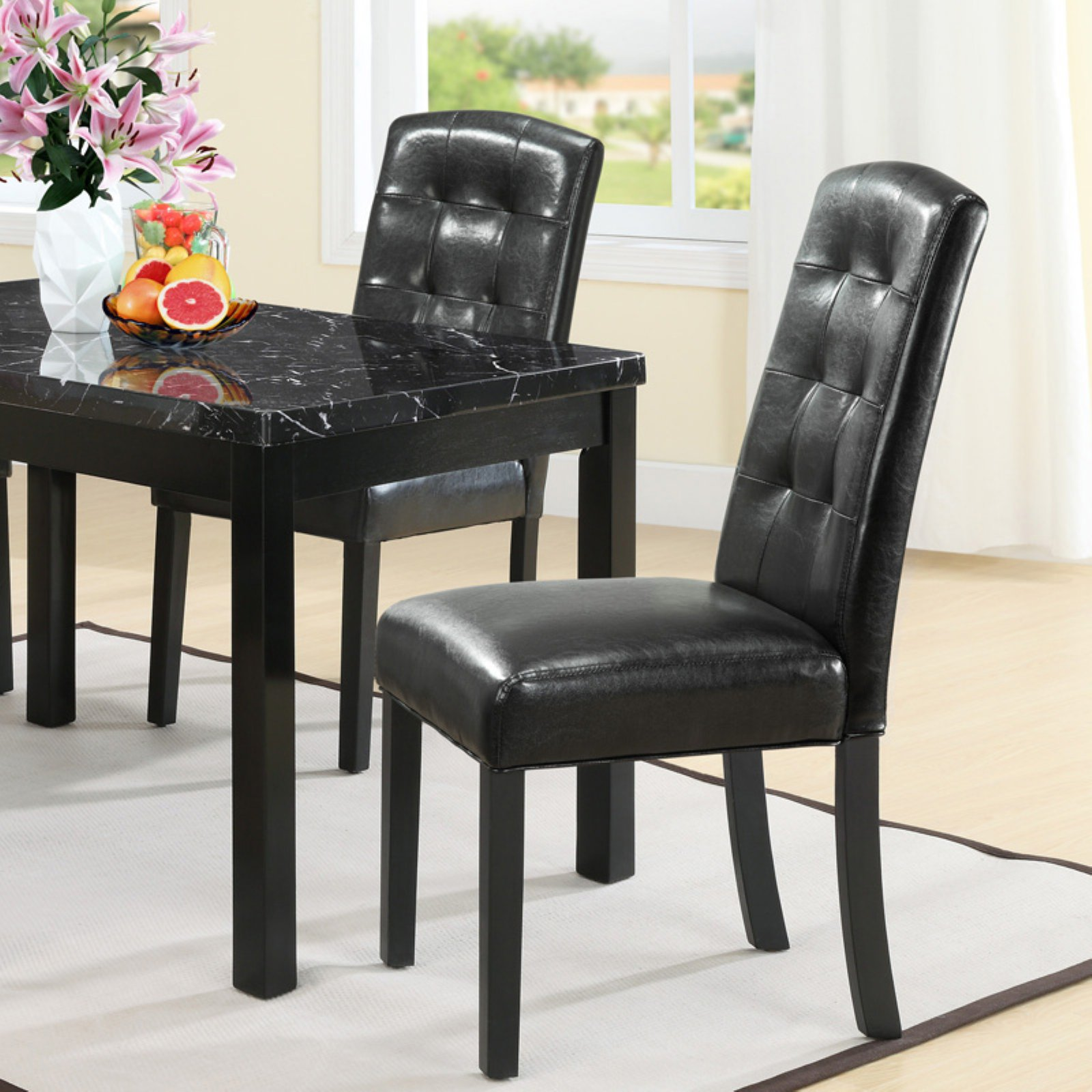 Modway Perdure Tufted Leatherette Dining Side Chair in Black