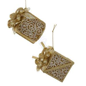 ACRYLIC GOLD & SILVER GIFT BOX WITH RIBBON ORNAMENT, SET OF 2 ()
