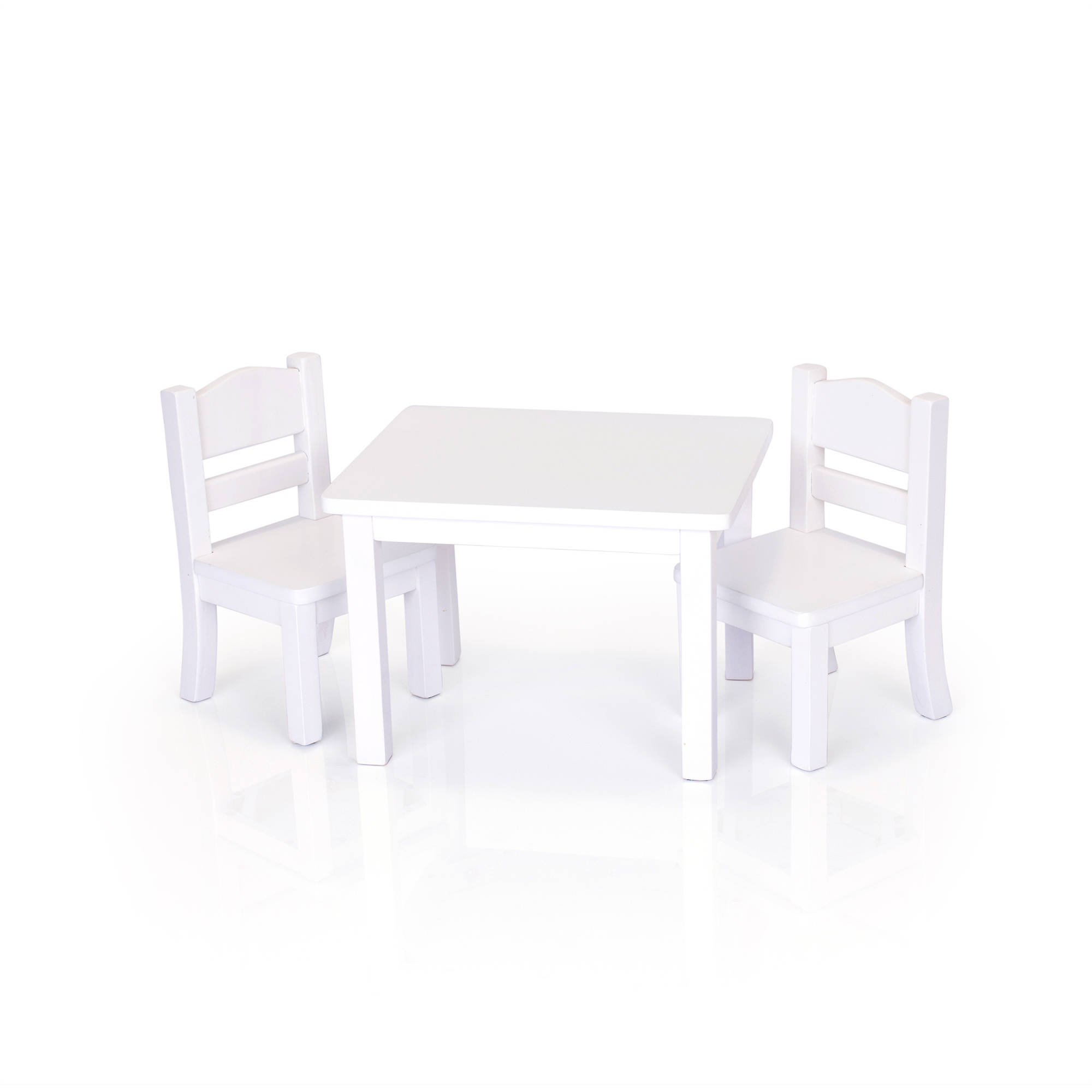 Doll Table and Chairs Set, White