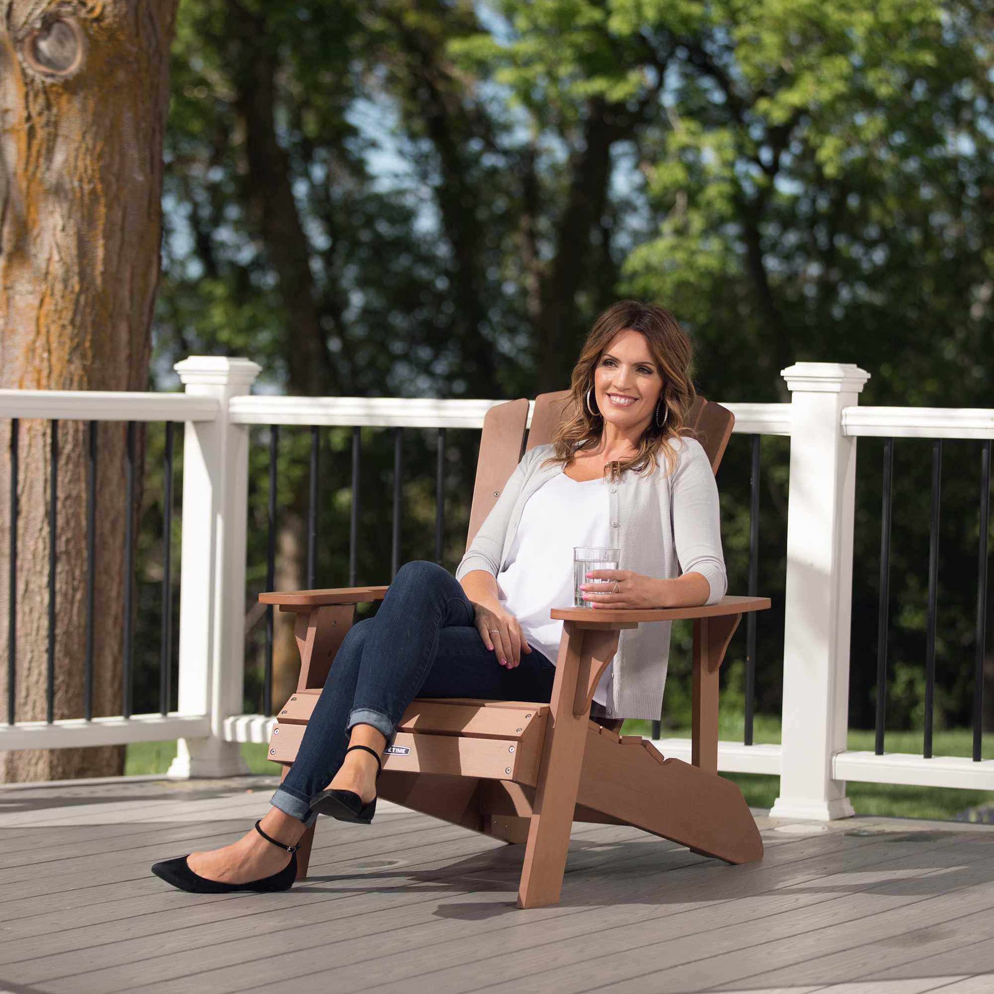 Lifetime Adirondack Wood Alternative Chair, Brown, 60064