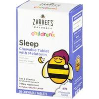 Zarbee's Naturals Children's Sleep Chewable Tablet with Melatonin , Natural Grape Flavor, 30 Count (1 Box)