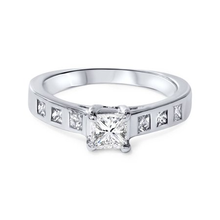 1ct Real  Princess Cut Bezel Real Diamond Engagement Ring 14K White Gold - image 2 of 3