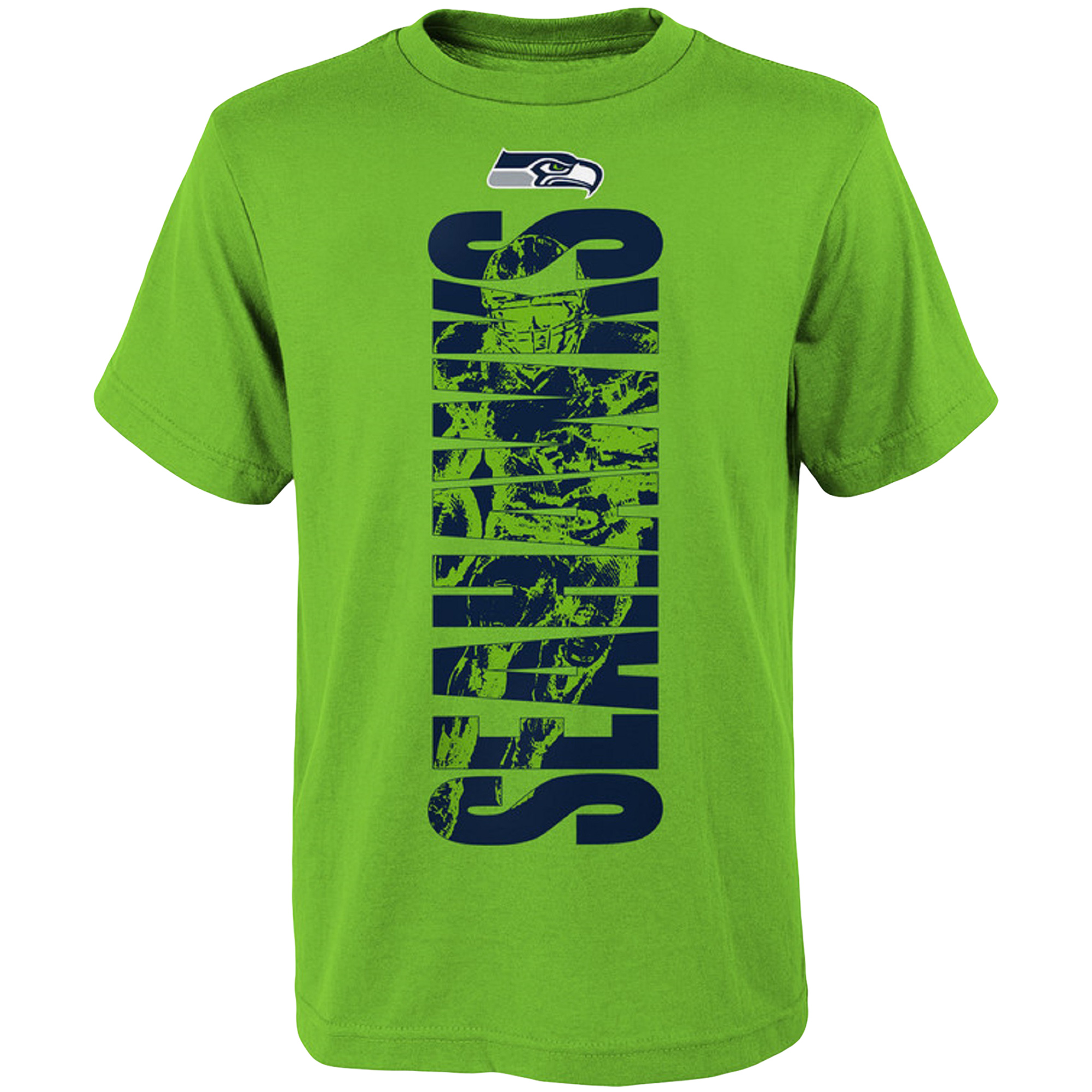 Youth Neon Green Seattle Seahawks Side T-Shirt