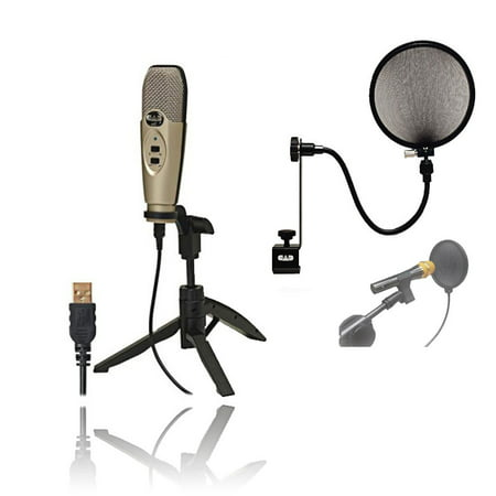 CAD U37 USB Studio Condenser Recording Microphone + CAD Audio EPF-15A Pop Filter on 15-Inch Gooseneck