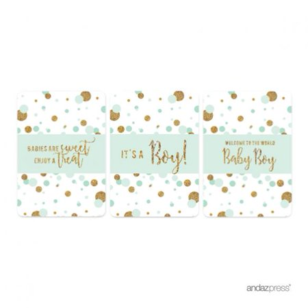 Mint Green Gold Glitter Baby Shower Hershey´s Miniatures Mini Candy Bar Wrappers, - Personalized Hershey Bar Wrappers