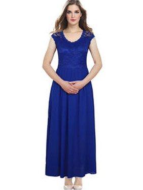 dc0b8db2e Product Image Unomatch Women Lace Designed Floral Top Party Dress Royal Blue