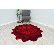 FLOWERS 3D Effect Hand Carved Thick Artistic Floral Flower Rose Botanical Shape Area Rug Design 301 Red 2'7''x 2'7'' Round