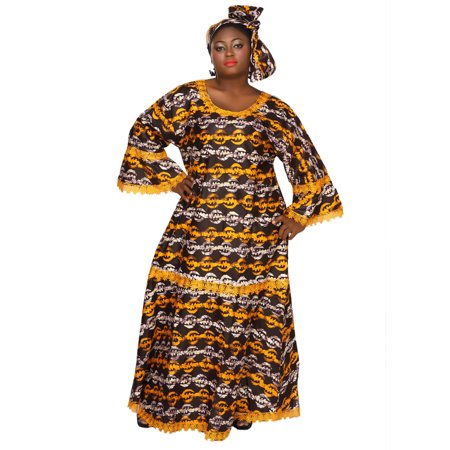 African Planet Women's Ankh Style Wax Dress Kitenge Inspired Elastic Waist (Best African Fashion Dresses)
